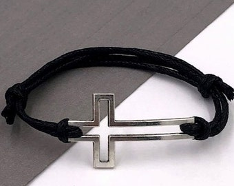 Cross Bracelet, Silver or Bronze Christian Jewelry Gifts for Men and Boys, Faux Leather Cord Bracelet With Choice of Colors, Boyfriend Gift