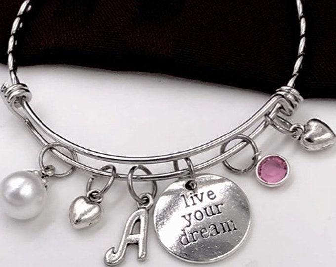 Silver Live Your Dream Charm Bracelet, Vacation Jewelry Gift, Girls Inspirational Bangle, Women's Personalized Retirement Bracelet Jewelry