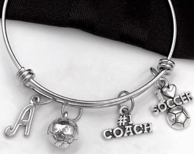 Soccer Ball Coach Bracelet, I Love Soccer Bangle, Gifts For Women and Girls, Sports Jewelry, Personalized Initial Birthstone Bangle Bracelet