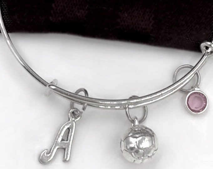 Soccer Ball Bracelet, Soccer Bangle, Gifts For Women and Girls, Sports Jewelry, Personalized Initial Birthstone Bangle Bracelet
