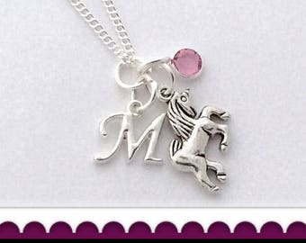 Unicorn Necklace, Unicorn Charm Necklace, Unicorn Jewelry, Unicorn Gifts, personalized Long Necklace, Silver Birthstone Necklace