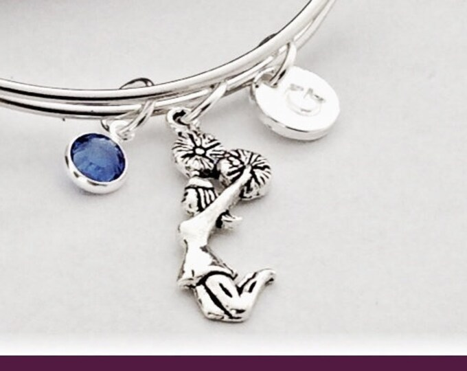 Personalized Cheerleading Bracelet Gifts, Silver Cheer Jewelry for Girls, Sterling Silver Birthstone and Letter Charm Included