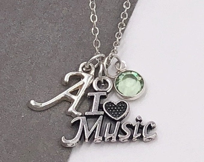 I Love Music Women's Silver Charm Necklace, Popular Personalized Gift Idea for Singing Coach or Dance Group, Swarovski Birthstone Jewelry