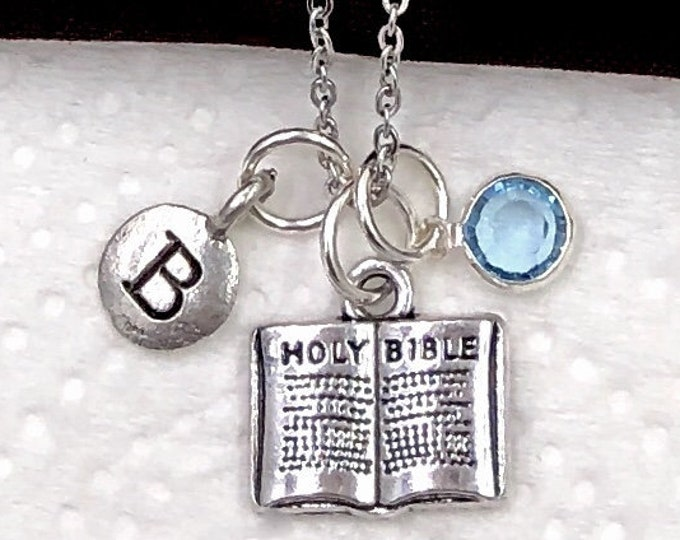 Personalized Christian Gifts, Silver Bible Necklace Jewelry for Women and Girls, Communion, Sterling Silver Birthstone and Initial Included