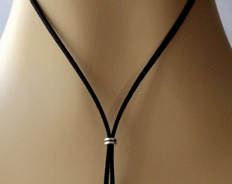 Bolo necklace, leather suede necklace, cord necklace, choker bead necklace, women's Y necklace, black cord bolo necklace, thin cord necklace