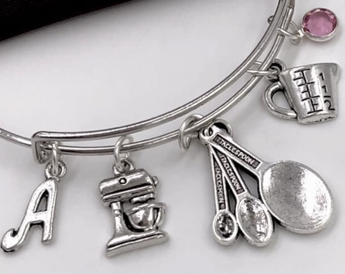 Bakery Chef Bracelet, Measuring Cup Bangle, Measuring Spoon Jewelry, Bride Present, Gift for Women and Girls, Personalized Initial Bangle