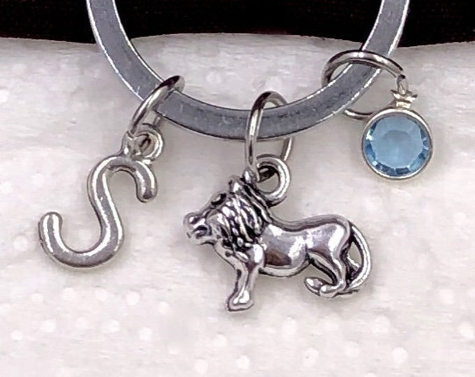 Personalized Lion Gifts, Silver Lion Keychain Jewelry for Women and Girls, Sterling Silver Birthstone and Initial Included