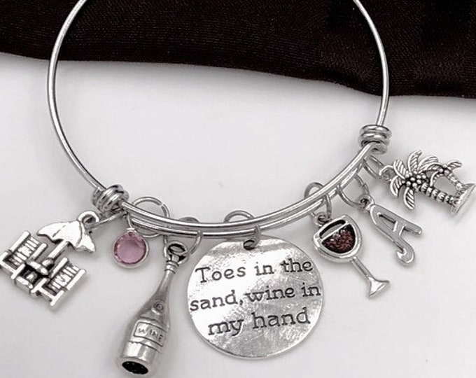 Toes in the Sand Wine in my Hand Bracelet, Vacation Jewelry Gift, Silver Birthstone Bracelet, Women's Red Wine Glass Personalized Bracelet