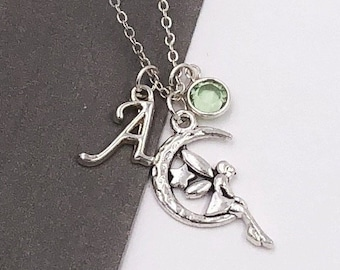 Fairy Gifts, Personalized Silver Fairy Jewelry Necklace for Women and Girls, With Sterling Silver Birthstone and Letter Charm