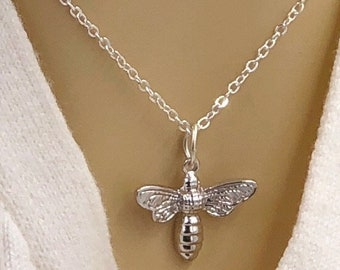 Silver or 24k Gold Bumblebee Necklace Jewelry Gifts for Women, Includes Your Choice of Sterling Silver, Gold, or Rose Gold Filled Chain