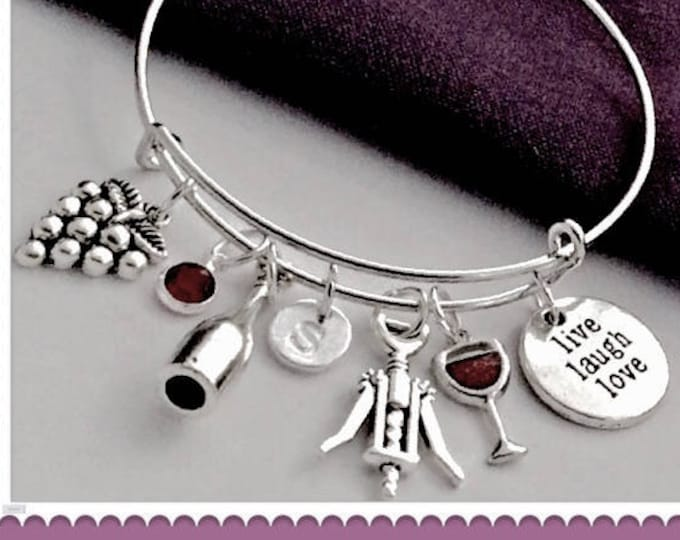 Personalized Silver Wine Bracelet Jewelry Gifts for Women, Includes Sterling Silver Birthstone and Letter Charm