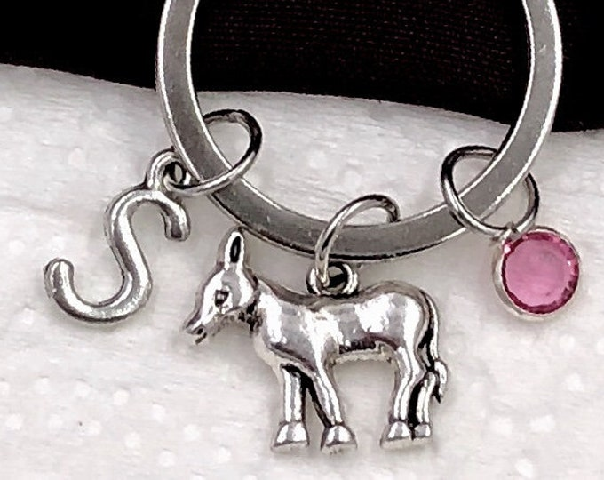 Personalized Donkey Gifts, Silver Donkey Keychain Jewelry for Women and Girls, Sterling Silver Birthstone and Initial Included