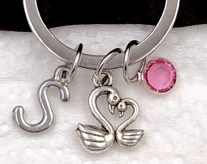 Personalized Swan Gifts, Silver Swan Keychain Jewelry for Women and Girls, Sterling Silver Birthstone and Initial Included