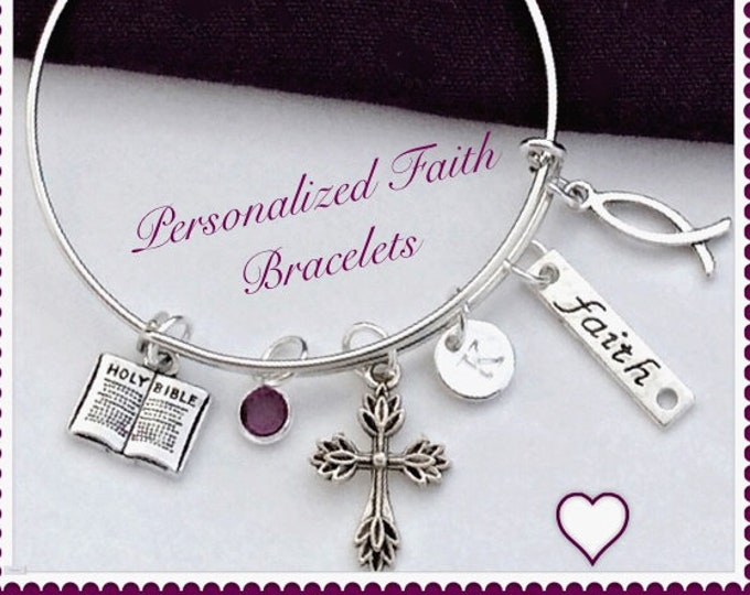 Women's Personalized Silver Cross Bracelet Jewelry Gifts, Includes a Sterling Silver Birthstone and Letter Charm, First Communion Gift Idea