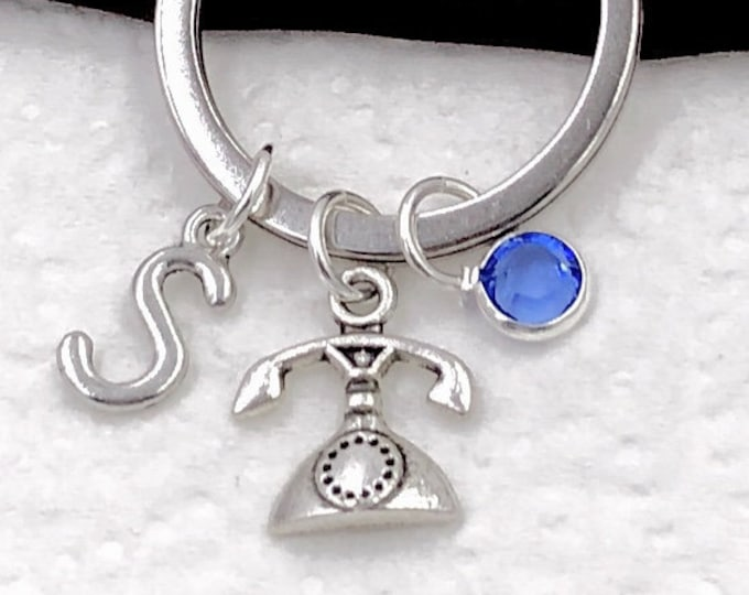 Personalized Vintage Phone Gifts, Silver Phone Keychain Jewelry for Women and Girls, Sterling Silver Birthstone and Initial Included