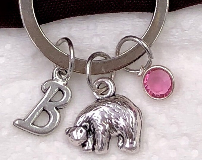 Personalized Bear Gifts, Silver Bear Keychain Jewelry for Women and Girls, Sterling Silver Birthstone and Initial Included