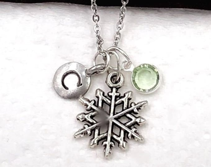 Personalized Winter Snowflake Gifts, Silver Snowflake Necklace Jewelry for Women and Girls, Sterling Silver Birthstone and Initial Included