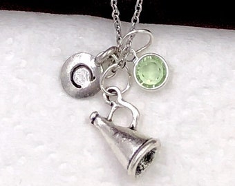 Personalized Coach Megaphone Gifts, Silver Megaphone Necklace Jewelry for Women and Girls, Sterling Silver Birthstone and Initial Included