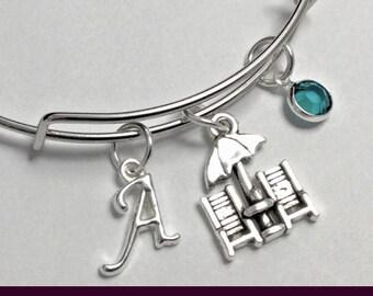 Beach Bangle, Beach Charm Bracelet, Personalized Bangle Bracelet, Birthstone Charm Bangle Bracelet, Beach Chair Bangle, Summer Jewelry