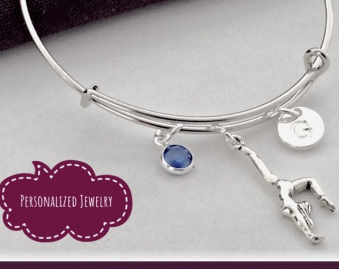 Silver Gymnast Bracelet Jewelry Gifts for Girls, Includes Personalized Sterling Silver Birthstone and Letter Charm, Great Team Gift Idea!