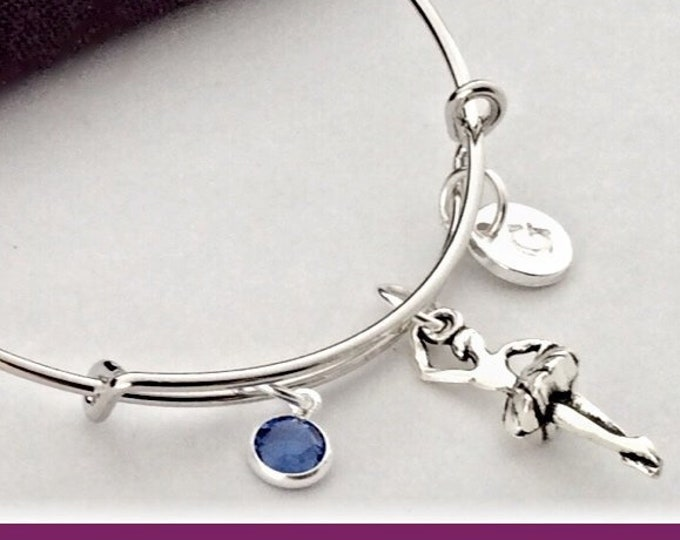 Personalized Ballerina Bracelet, Silver Jewelry Dance Gifts for Girls, Includes a Sterling Silver Swarovski Birthstone and Initial Charm