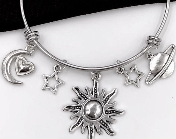 Sun Bangle, Moon Heart Bracelet, Planet Jewelry, Gift For Women and Girls, Stars in the Solar System, Summer Beach Time, gift for Astronomer