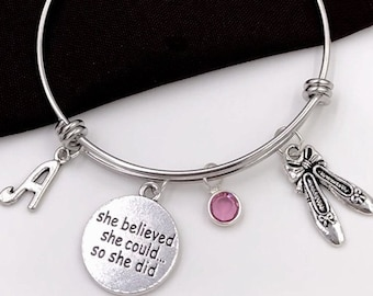 Ballet Slipper Charm Bracelet, She Believed She Could so She Did Jewelry, Dance Sport Team Gift, Girls Personalized Popular Trendy Ballerina
