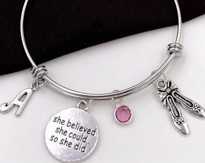 Ballet Slipper Charm Bracelet, She Believed She Could so She Did Jewelry, Dance Sport Team Gift, Girls Personalized Popular Trendy Ballerina
