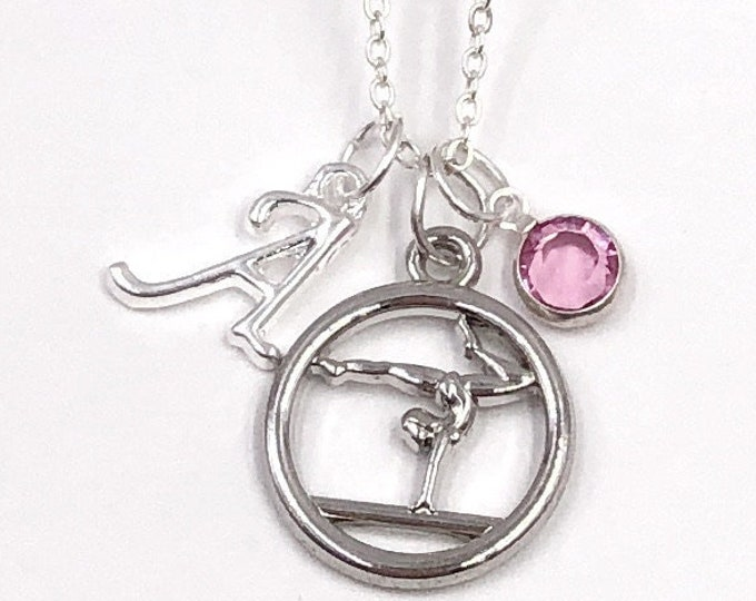 Personalized Silver Gymnastics Necklace Gift for Girls, With Sterling Silver Birthstone and Letter Charm, Great Gymnast Team Coach Gift!