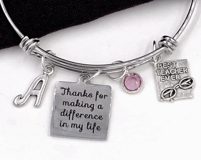 Personalized Teacher's Silver Jewelry Charm Bracelets, Gift for Women and Girls, Coach Bangles, Includes Swarovski Birthstone and Initial