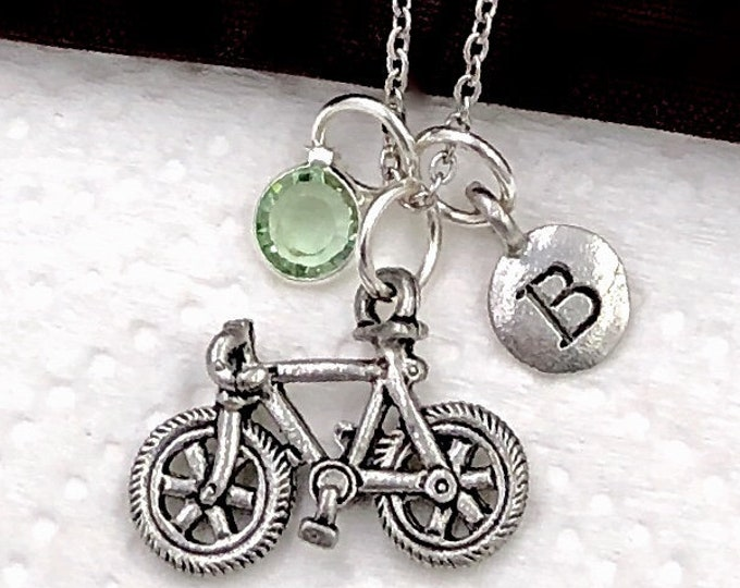 Personalized Bicycle Gifts, Silver Bicycle Necklace Jewelry for Women and Girls, Sterling Silver Birthstone and Initial Included