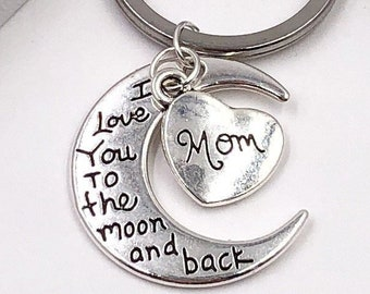 Mothers Day Gift, Personalized Silver Love You to the Moon Keychain, Your Choice of Heart Charm, Sterling Silver Birthstones Available