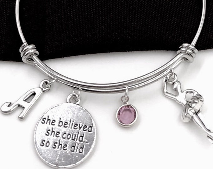Ballet Bracelet, She Believed She Could so She Did Jewelry, Ballerina Jewelry Gift, Dance Sport Team Gift, Popular Personalized  Bracelets