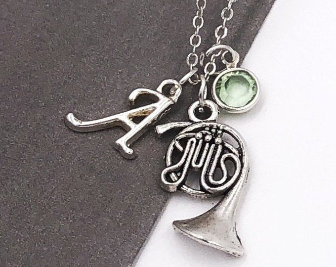 Personalized French Horn Music Gifts, Silver Horn Necklace Jewelry for Women and Girls, Sterling Silver Birthstone and Initial Included