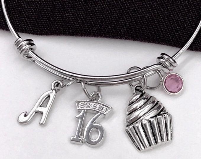 16th Birthday Bangle Bracelet, Sweet 16 Jewelry, Cupcake Charm, Gifts For Girls, Birthday Bracelet, Personalized Initial Birthstone Bracelet