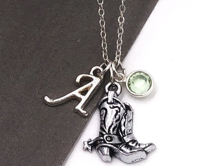 Girls Silver Boot Necklace, Western Necklace, Cowgirl Jewelry Gift, Wild West, Texas State Gift, Women's Personalized Birthstone Jewelry