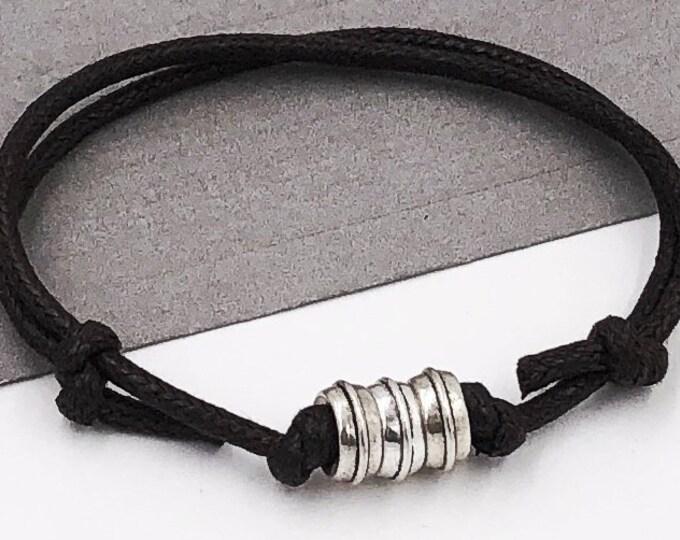Mens And Boys Adjustable Beaded Cord Bracelet, Gift for Husband or Boyfriend, Mens Adjustable Brown or Black Cord Bracelet, Teen Gift