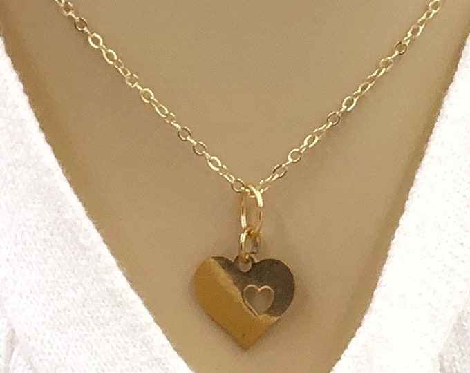 Gold or Silver Heart Necklace Jewelry Gifts For Women and Girls, With Your Choice of Sterling Silver, Gold, or Rose Gold Filled Chain