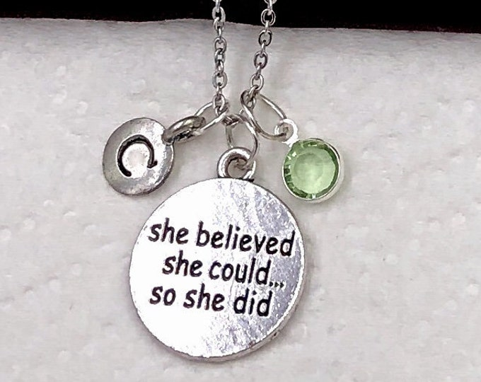 Personalized Inspirational Gifts, Silver Inspirational Necklace Jewelry for Women and Girls, Sterling Silver Birthstone and Initial Included