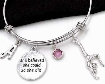 Gymnast Bracelet, She Believed She Could so She Did Bracelet, Gymnastics Jewelry Gifts, Sports Team Gifts, Popular Bracelets, Personalized