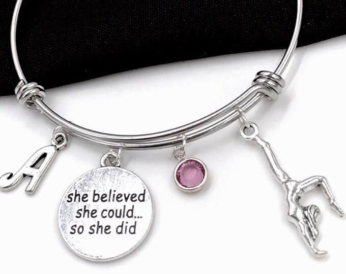 Gymnast Bracelet, She Believed She Could so She Did Bracelet, Gymnastics Jewelry Gifts, Sports Team Gifts, Popular Bracelets, Personalized