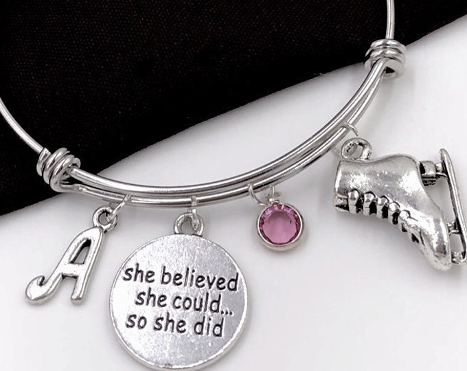 Skating Bracelet, She Believed She Could so She Did Jewelry, Skating Jewelry Gift, Skating Sport Team Gift, Popular Personalized  Bracelet