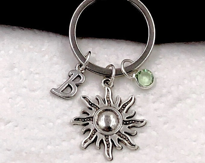 Custom listing for Rosemary,  Silver Sun Keychain Jewelry for Women and Girls, Sterling Silver Birthstone and Initial Included