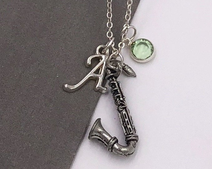 Personalized Saxophone Music Gifts, Silver Saxophone Necklace Jewelry for Women and Girls, Sterling Silver Birthstone and Initial Included
