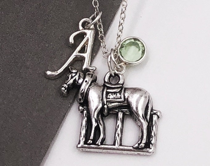 Personalized Horse Gifts, Silver Horse Necklace Jewelry for Women and Girls, Sterling Silver Birthstone and Initial Included
