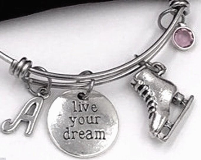 Live Your Dream Ice Skate Bracelet, Inspirational Skating Jewelry, Coach Gifts, Sport Team, Personalized Initial Birthstone Bangle Bracelets