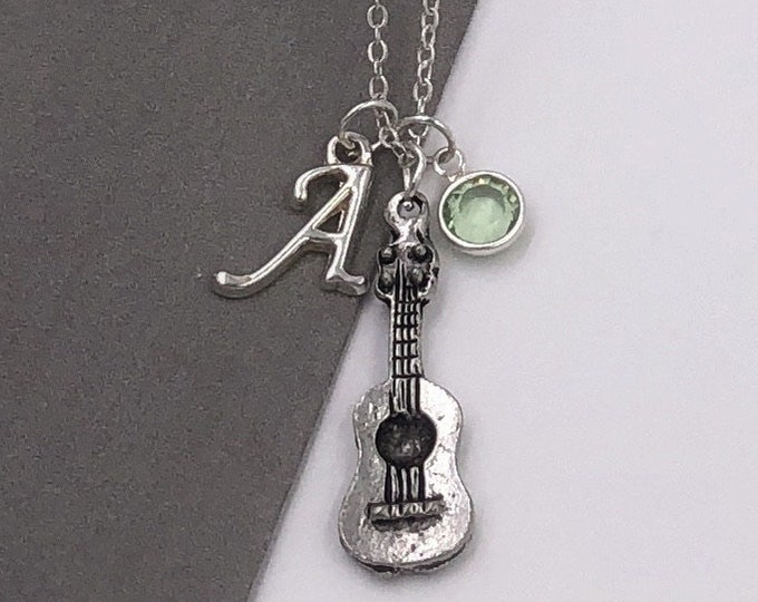 Personalized Guitar Music Gifts, Silver Guitar Necklace Jewelry for Women and Girls, Sterling Silver Birthstone and Initial Included