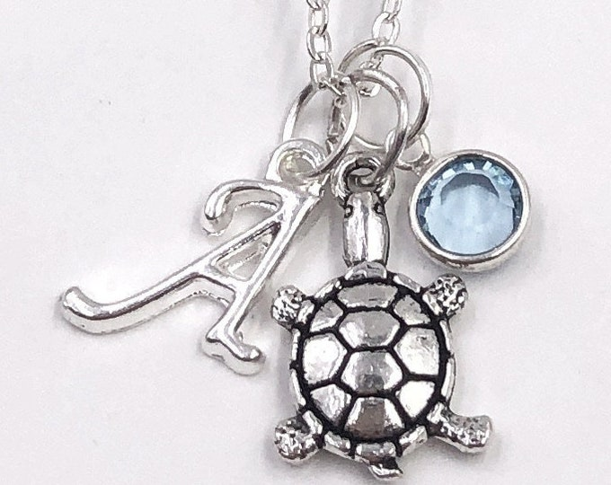 Personalized Silver Sea Turtle Necklace Gifts for Women and Girls, With Sterling Silver Birthstone and Letter Charm, Great Summer Beach Gift
