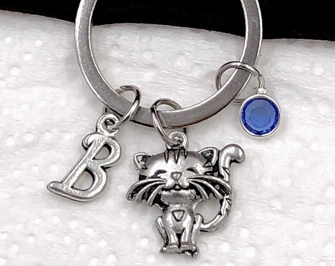 Personalized Cat Gifts, Silver Cat Keychain, Kitten Keychain Jewelry for Women and Girls, Sterling Silver Birthstone and Initial Included