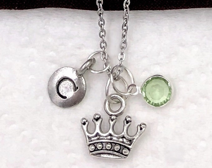 Crown Necklace Gifts, Princess Jewelry, Birthday Charm, Gifts for Women and Girls, Personalized Sterling Silver Birthstone Initial Necklace